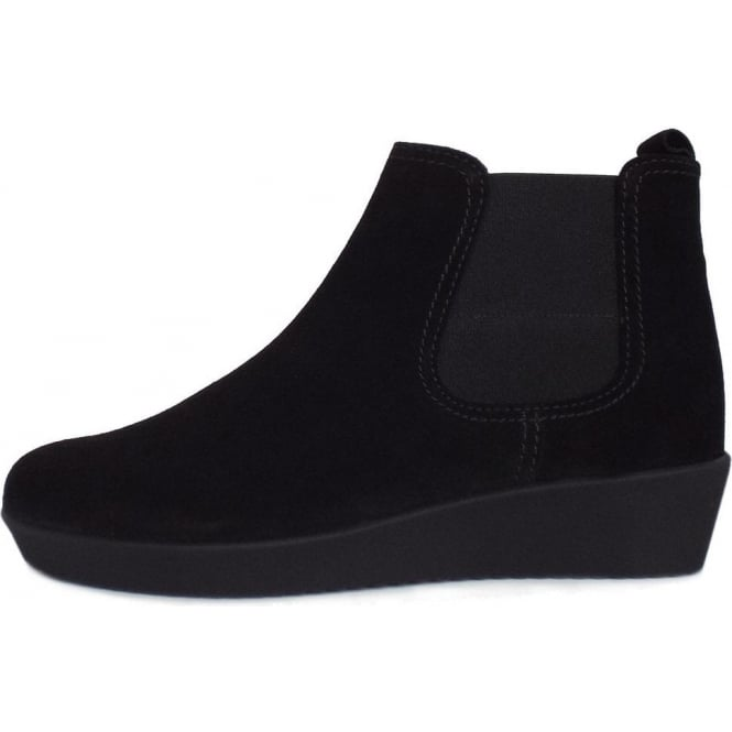 7c3f04ae81e Gabor Gabor Ghost Women s Modern Low Wedge Ankle Boots in Black Suede