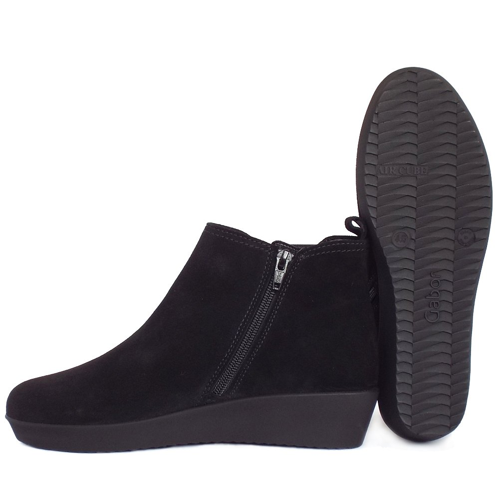 Gabor Ghost | Women's Low Wedge Ankle Boots in Black Suede | Mozimo