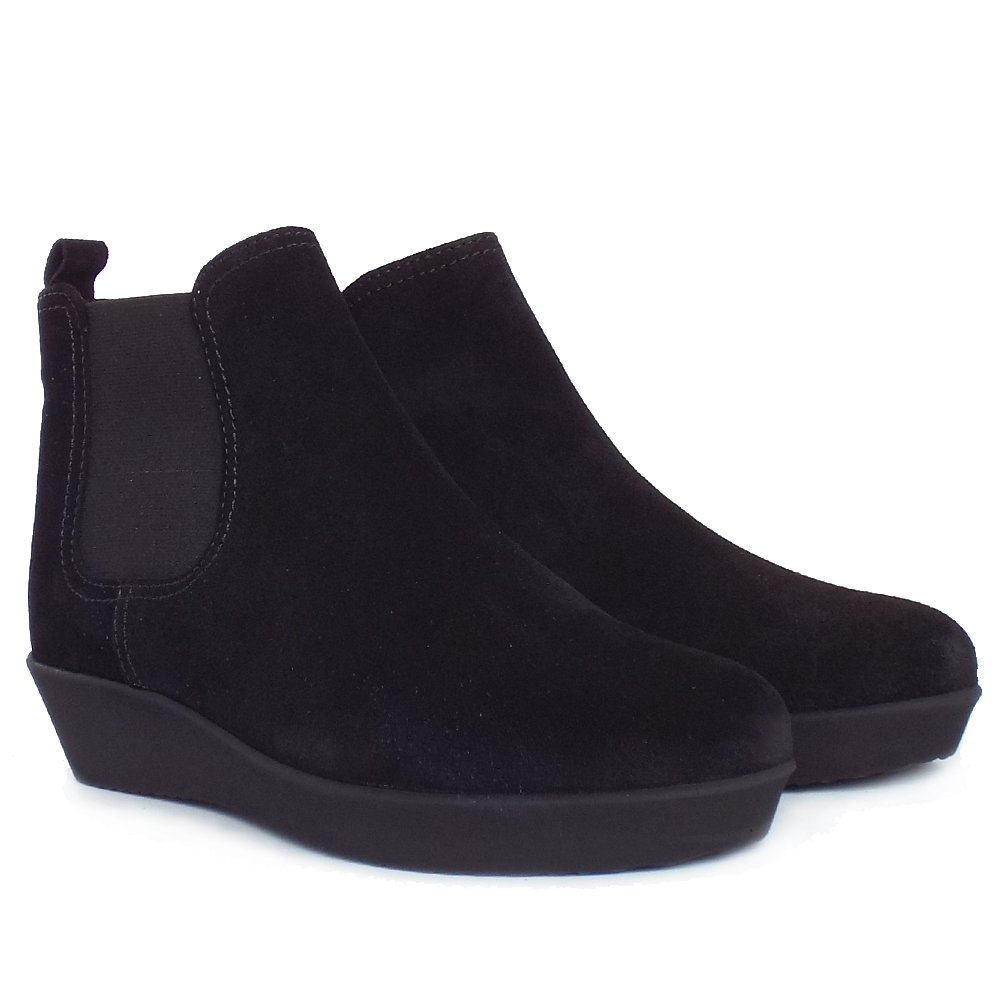 gabor ghost women 39 s low wedge ankle boots in black suede. Black Bedroom Furniture Sets. Home Design Ideas