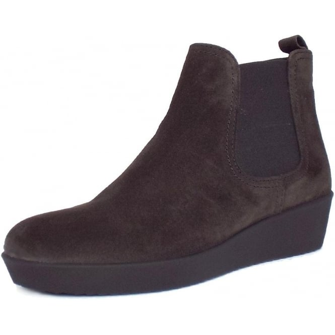 975ddb82bbc3 Ghost Women  039 s Modern Low Wedge Ankle Boots in Dark Grey Suede