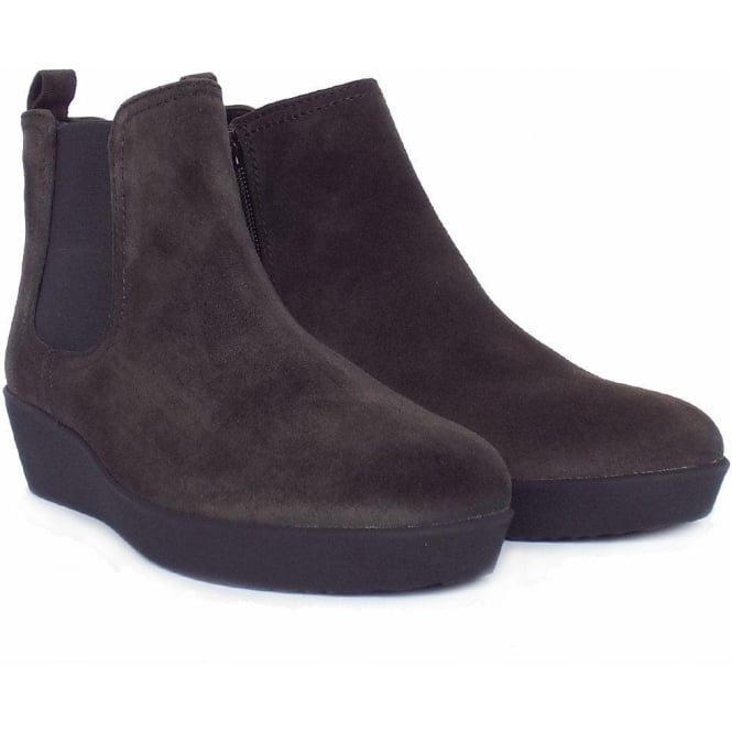 5a5ca59d2389 Ghost Women  039 s Modern Low Wedge Ankle Boots in Dark Grey Suede