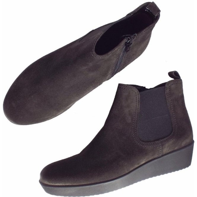 3dc7f7860fd Gabor Ghost Women's Modern Low Wedge Ankle Boots in Dark Grey Suede