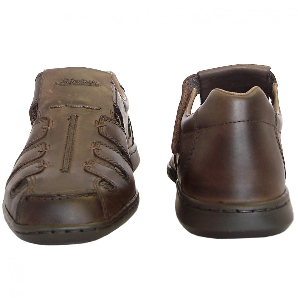 rieker glen s casual summer shoes in brown leather