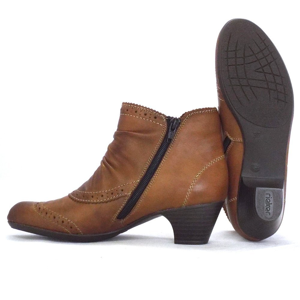 Rieker Glenton | Ladies Ankle Boot in Tan Leather | Mozimo Boots