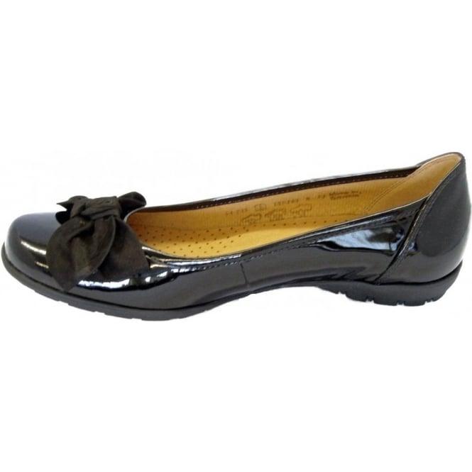 ea8037233c003 Gabor Shoes | Glitz Ladies Ballet Pump in Black Patent | Mozimo