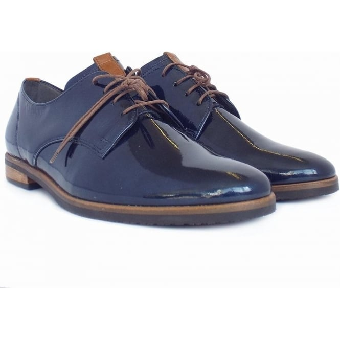 Gondola Smart Casual Lace-Up Shoes in Night Blue Patent