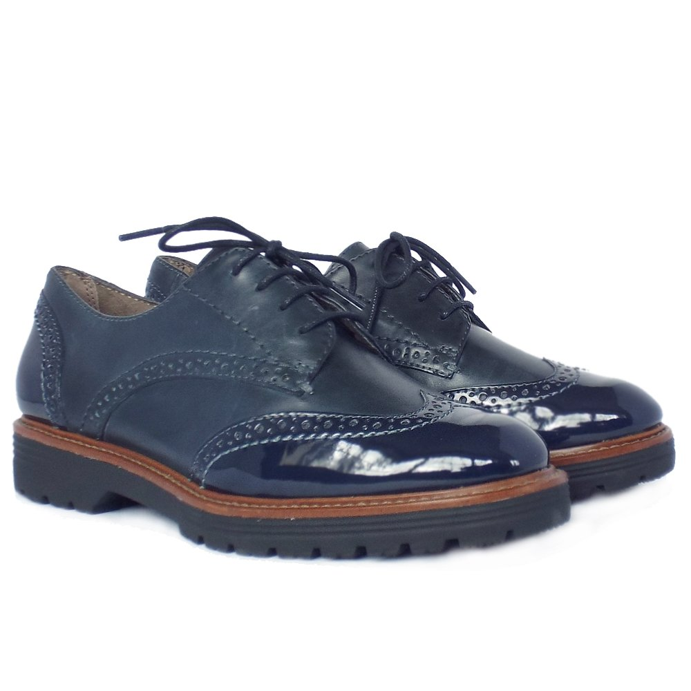 Grantham Modern Wide Fit Brogues In Navy Leather And Patent