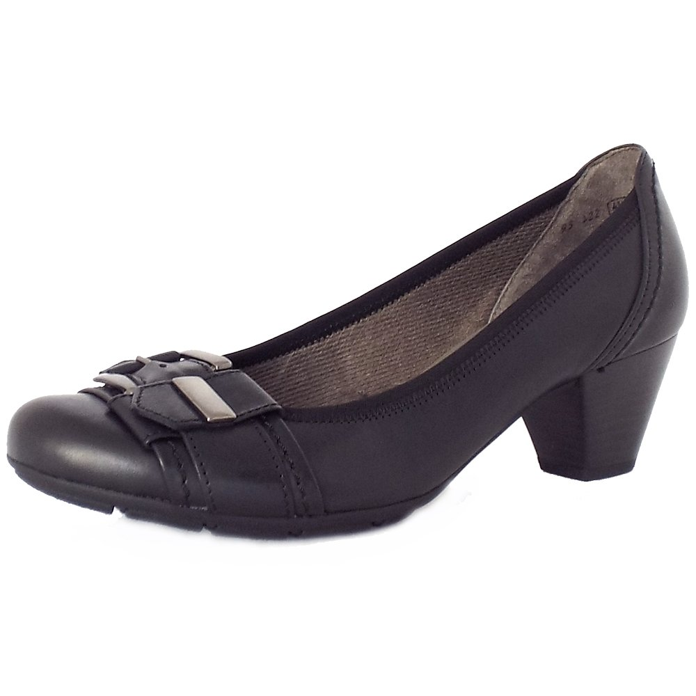 Gabor Great | Low Heel Court Shoes in Black Leather | Mozimo