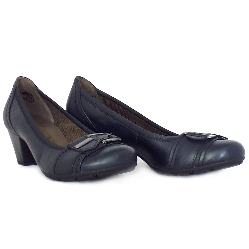 gabor great navy leather low heel pumps mozimo. Black Bedroom Furniture Sets. Home Design Ideas