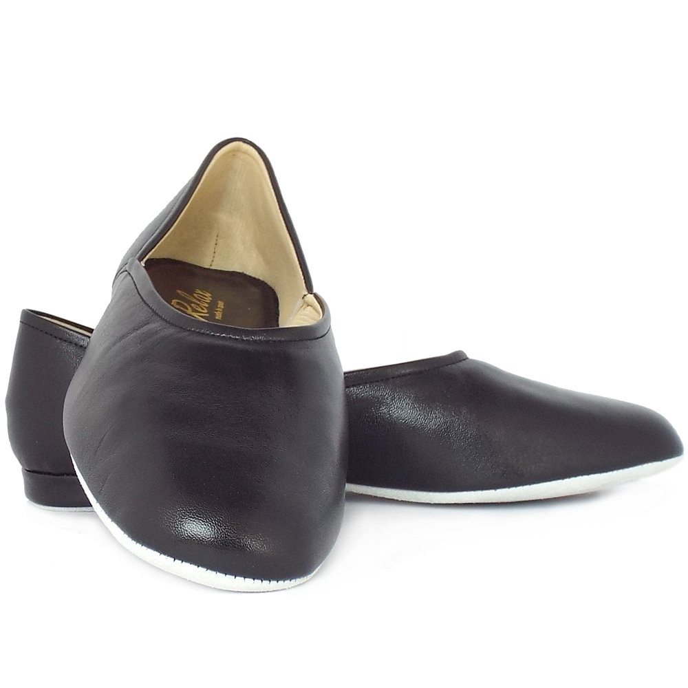 Relax Slippers Grecian Mens Classic Black Leather Mozimo