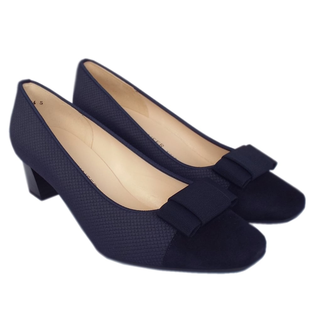best selection of 2019 beautiful style new varieties Gristina Low Heel Wide Fit Shoes in Navy Suede