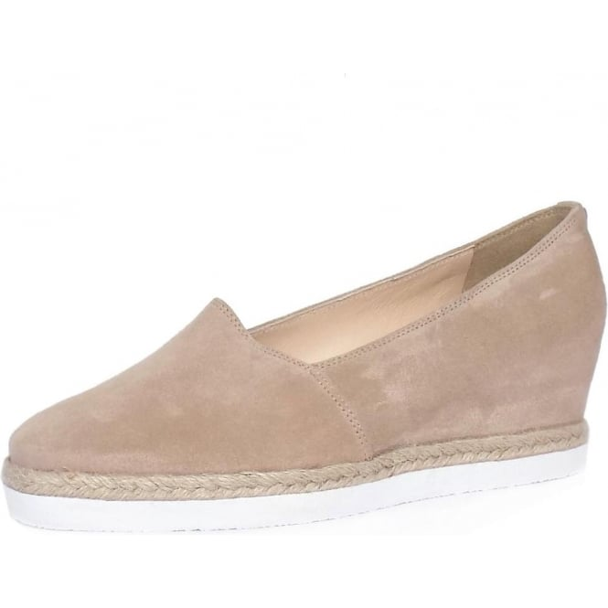 Högl 1-10 4402 Peckforton Women's Smart-Casual Mid Wedge Espadrilles in Nude Beige Suede