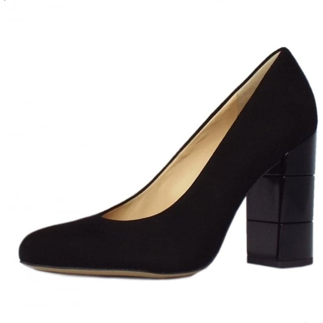Högl 2-10 9702 Eaton Trendy Block Heel Court Shoes in Black Suede