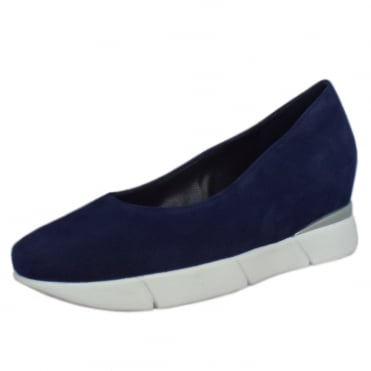 3-10 2202 Westminster Smart-Casual Mid Wedge in Navy Suede