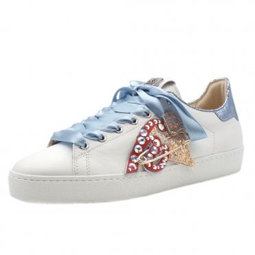 5-10 0320 Heart Beat Swarovski Lace Up Sneakers in White