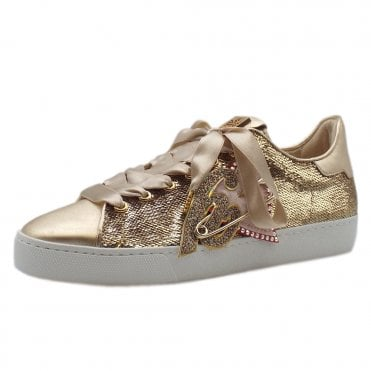 5-10 0328 Heart Beat Swarovski Lace Up Sneakers in Platinum