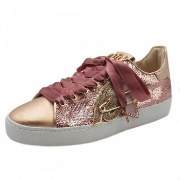 5-10 0328 Heart Beat Swarovski Lace Up Sneakers in Rose