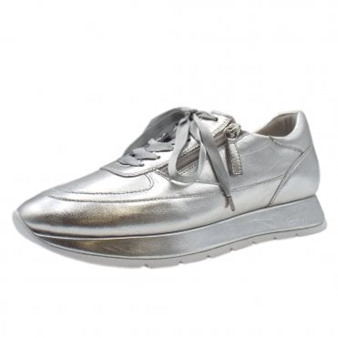 5-10 1321 The Cloud Lace Up Sneakers in Silver