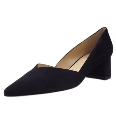 5-10 4522 Scala Chic Pointed Toe Court Shoes in Navy Suede