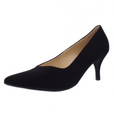 6-10 6142 Queennie Classic Pointed Court Shoe in Black Suede