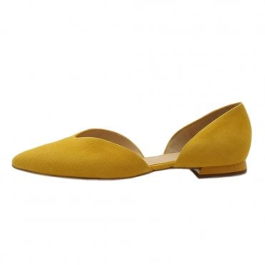 2e88716b2591 7-10 0012 Tenderly Chic Pointed Toe Suede Court Shoes in Yellow