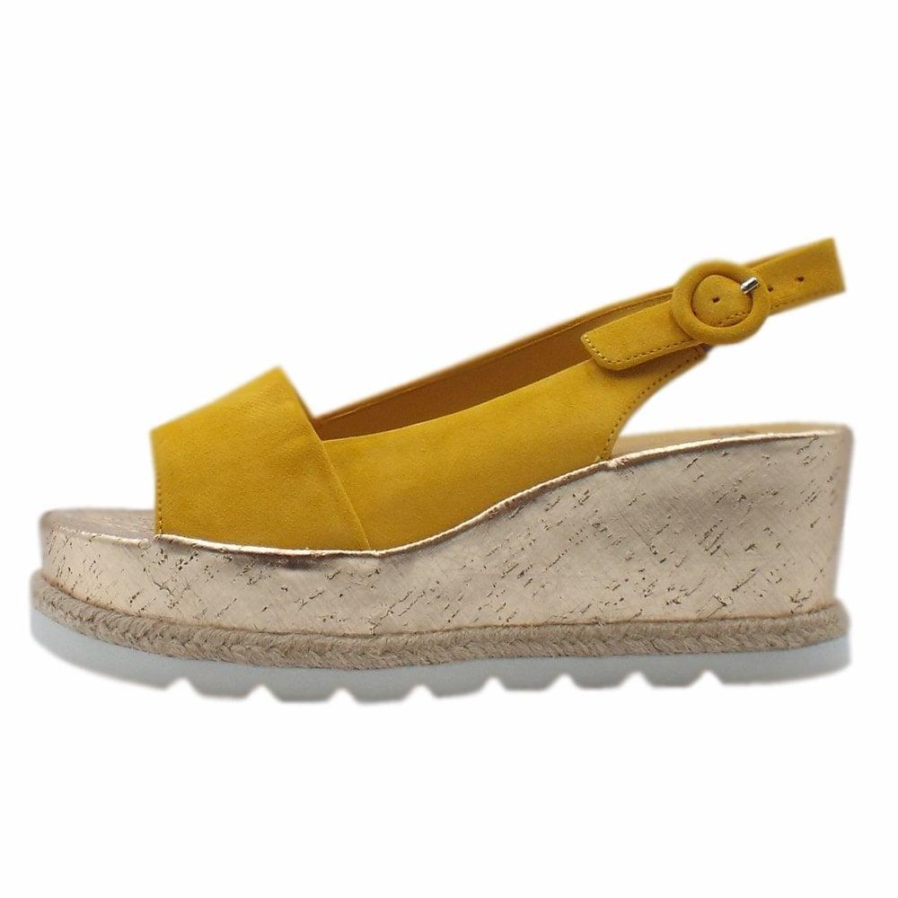 9ea238da0f3ee 7-10 3242 Corded Platform Wedge Sandals in Yellow Suede