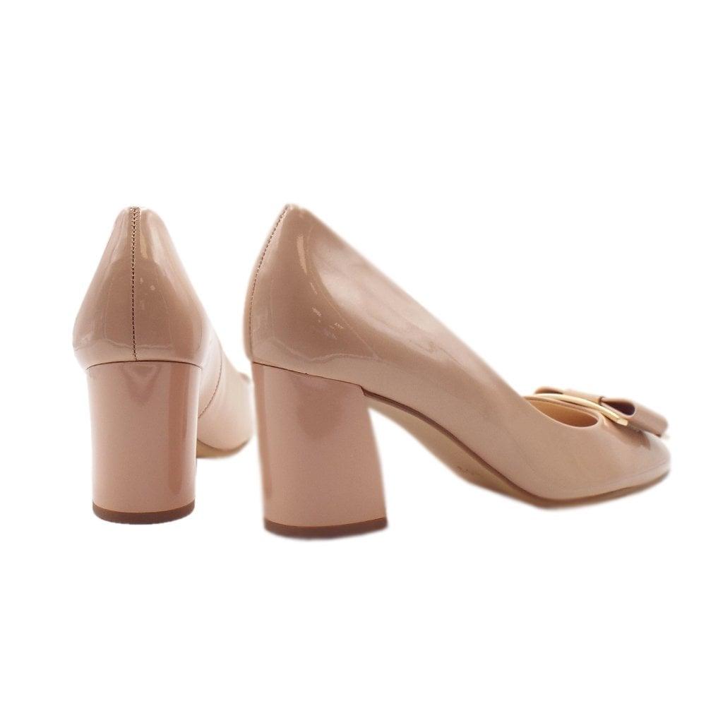 Block Heel Court Shoes Nude Patent