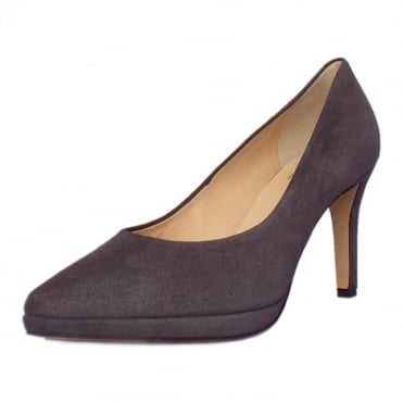 Broxton 7702 Classic High Heel Court Shoes in Dark Grey Suede