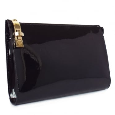 Diana Women's Classic Clutch Bag in Black Patent