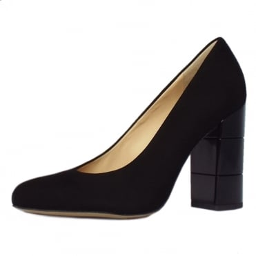 Eaton Trendy Block Heel Court Shoes in Black Suede