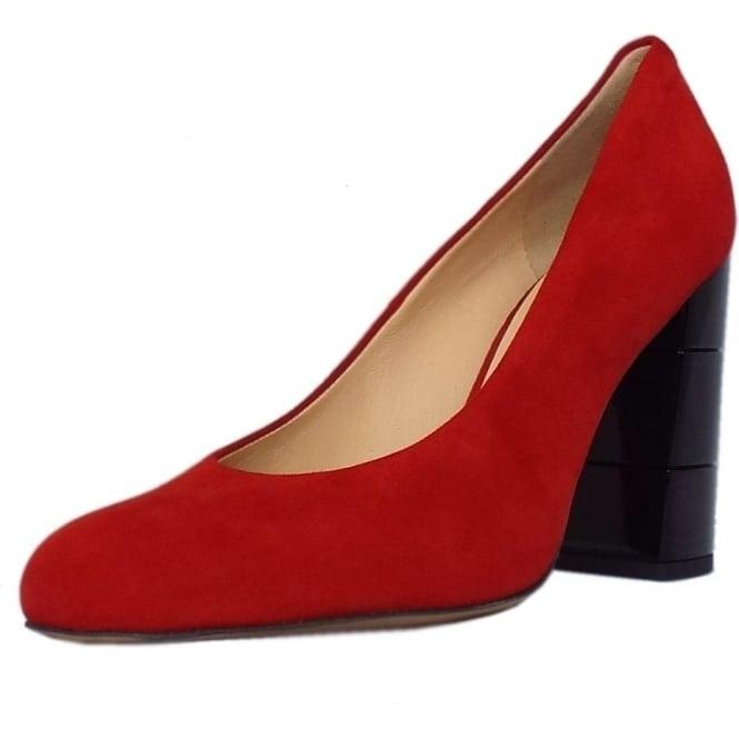 Eaton Trendy Block Heel Court Shoes in Red Suede