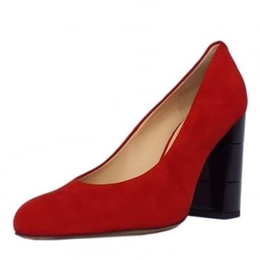 Eaton Trendy Block Heel Court Shoes in Red Suede