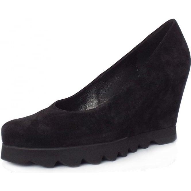 Black Suede Wedge Shoes | Sporty Sole Unit