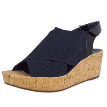 Hough Textile and Patent trim Sandals in Navy