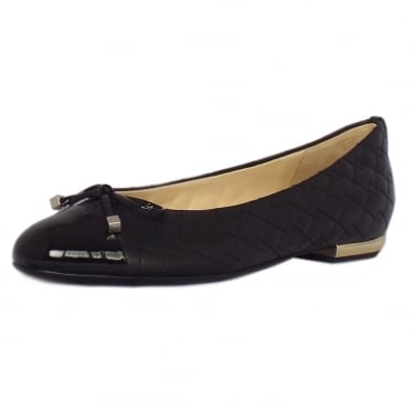 Kelsall Smart Black Leather Ballerina Pumps