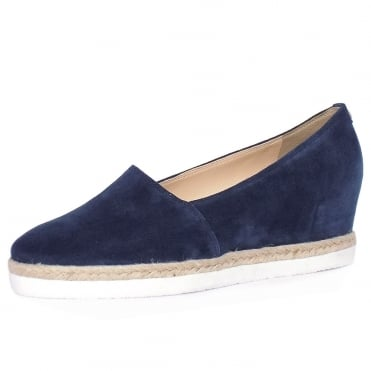 Peckforton Women's Smart-Casual Mid Wedge Espadrilles in Navy Suede