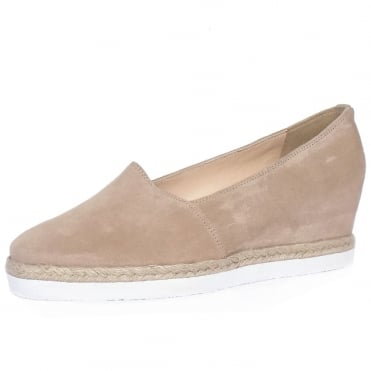 Peckforton Women's Smart-Casual Mid Wedge Espadrilles in Nude Beige Suede
