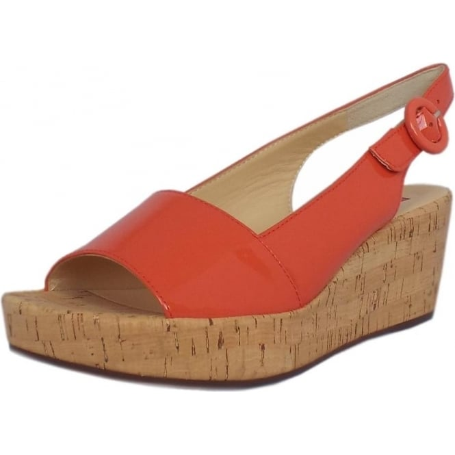 Mozimo Saltney Patent Platform Wedge Sandals in Water Melon