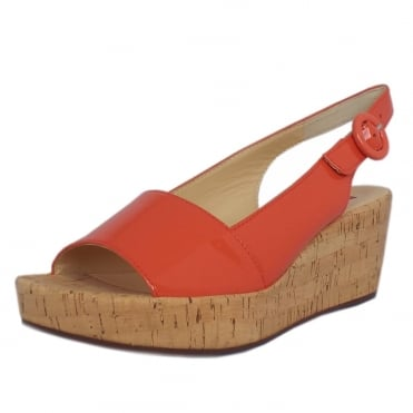 Saltney Patent Platform Wedge Sandals in Water Melon