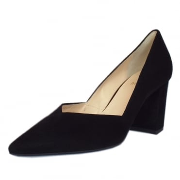 Shakespeare Trendy Pointed Toe Court Shoes in Black Suede