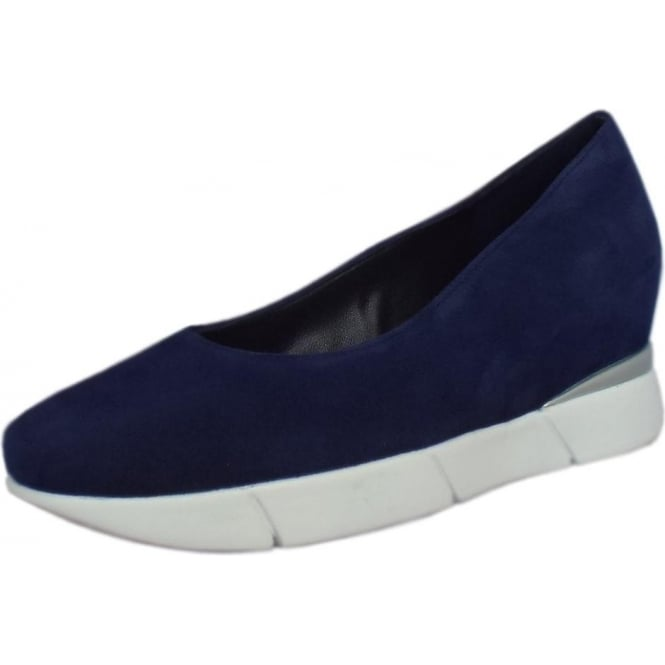 Högl Westminster Smart-Casual Mid Wedge in Navy Suede