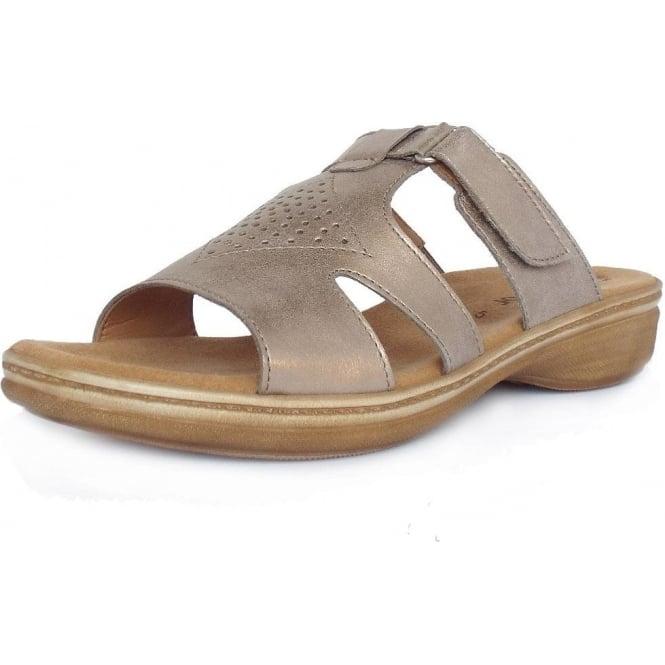 b2386f0be646 Hamburg Modern Flat Mules Sandals in Light Gold
