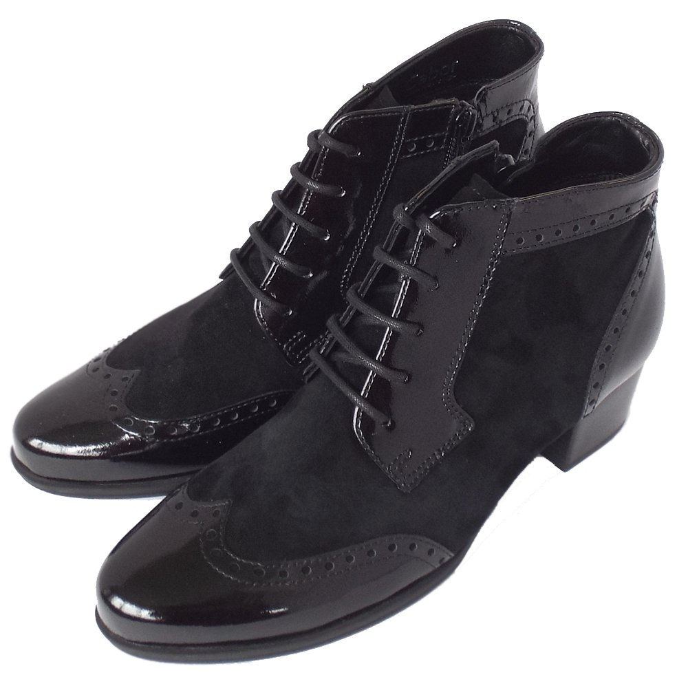 Gabor Hamlyn Women S Modern Brogue Ankle Boots In Black Patent Mix