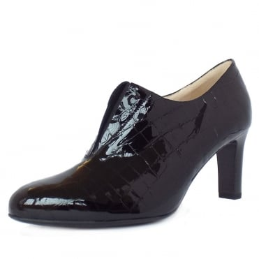 Hanara High Top Trouser Shoes in Black Croc Effect Patent