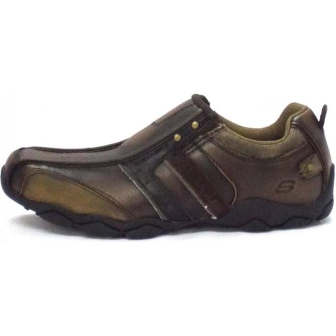 Skechers Heisman Brown Leather hommes Trainers