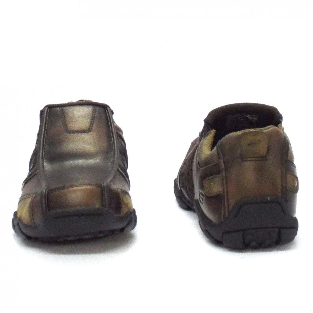 skechers heisman casual brown leathers mens shoe