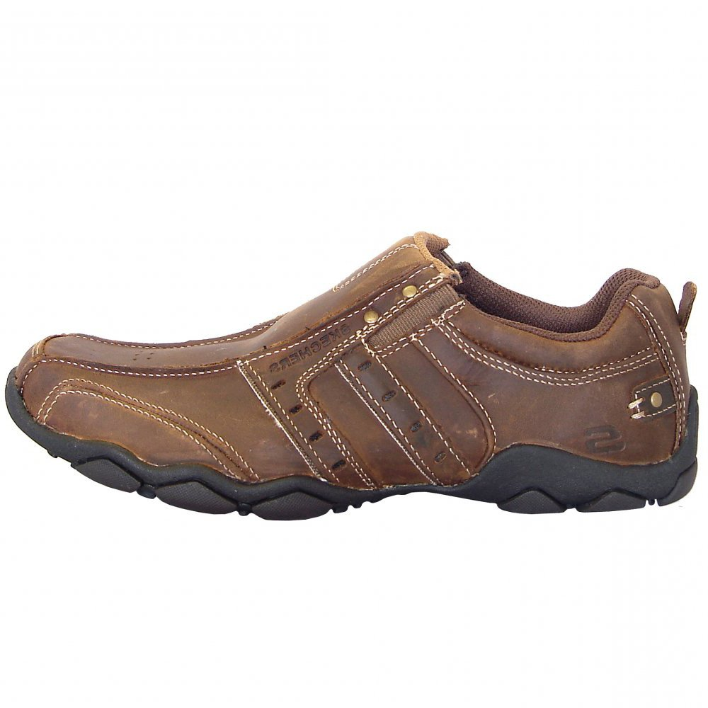 Skechers Heisman Casual Mens Slip On Trainers In Brown Mozimo