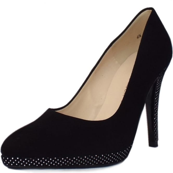 Peter Kaiser Hertha High Heel Dressy Court Shoes in Black Suede