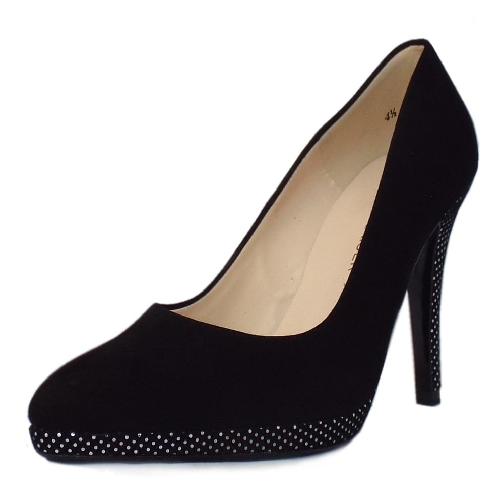 kaiser hertha s high heel black suede court