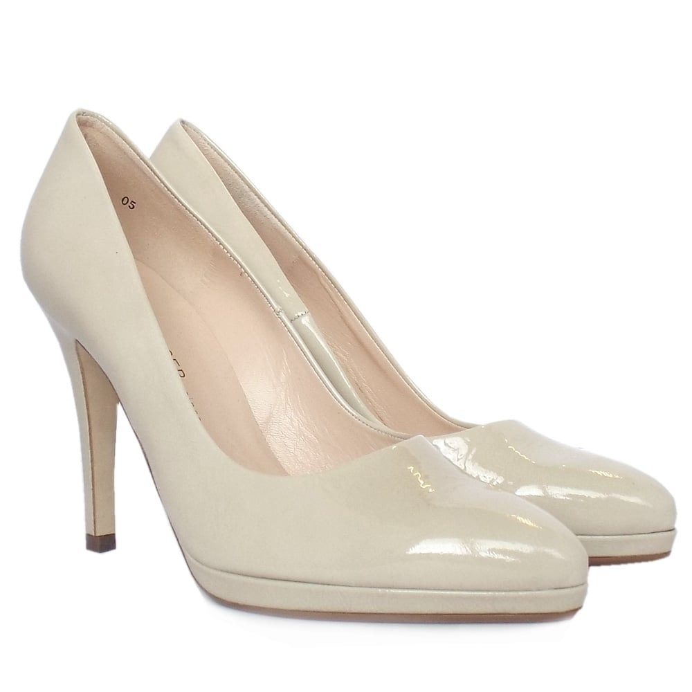 peter kaiser hertha women 39 s high heel court shoes in nude patent. Black Bedroom Furniture Sets. Home Design Ideas